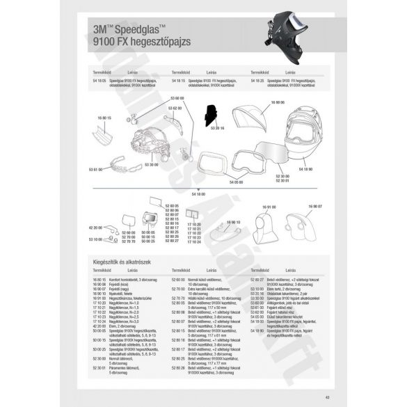Speedglas 9100FX látómező párásodás elleni bevonattal, páramentes 5db/csom - 523001